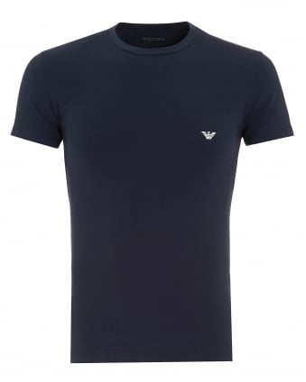 Mens T-Shirt, Navy Blue Small Logo Tee