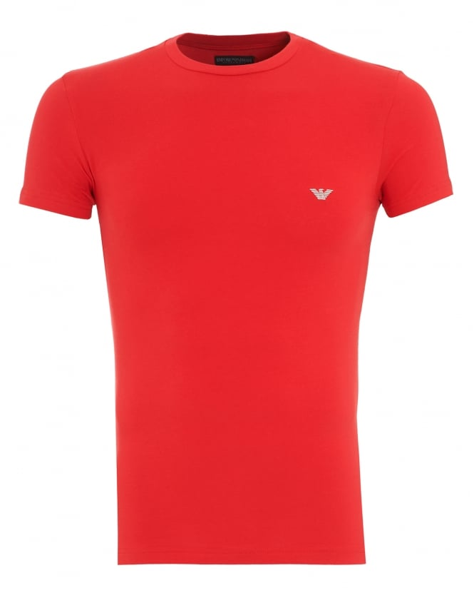 Emporio Armani Mens T-Shirt, Red Small Logo Tee