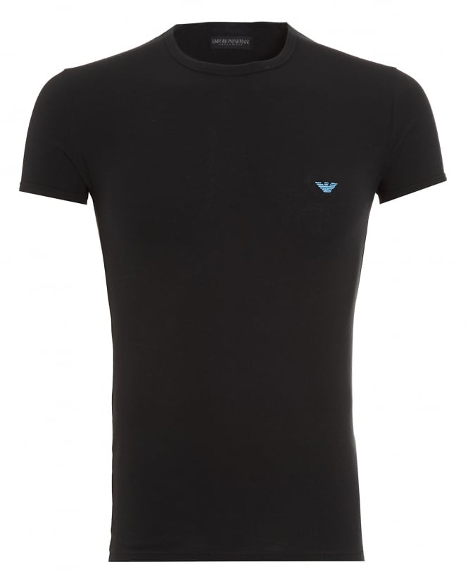 Emporio Armani Mens T-Shirt, Small Eagle Logo Slim Fit Black Tee