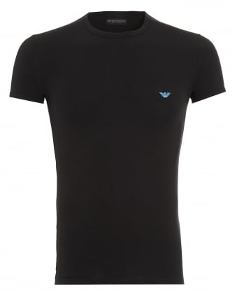 Mens T-Shirt, Small Eagle Logo Slim Fit Black Tee