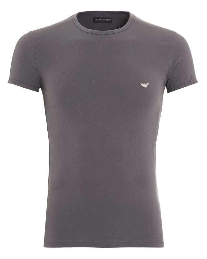 Emporio Armani Mens T-Shirt, Small Eagle Logo Slim Fit Grey Tee