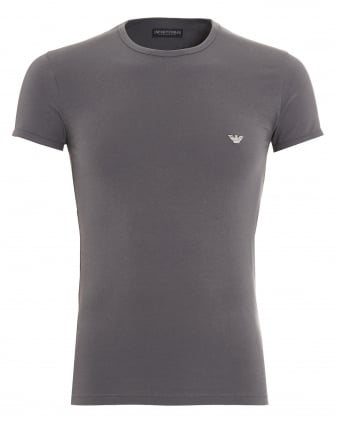 Mens T-Shirt, Small Eagle Logo Slim Fit Grey Tee