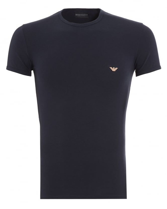 Emporio Armani Mens T-Shirt, Small Eagle Logo Slim Fit Navy Blue Tee
