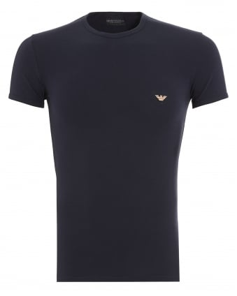Mens T-Shirt, Small Eagle Logo Slim Fit Navy Blue Tee