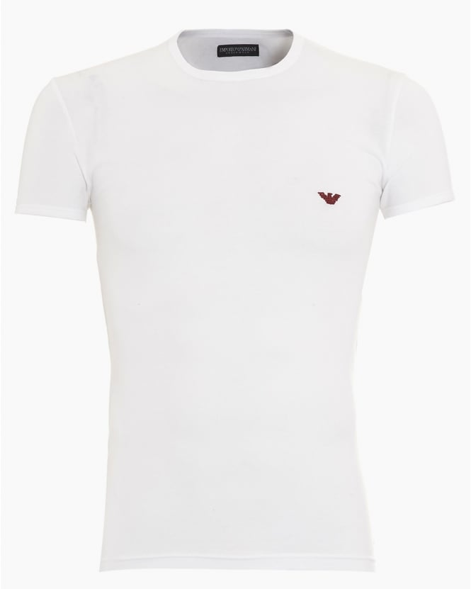 Emporio Armani Mens T-Shirt, Small Eagle Logo Slim Fit White Tee