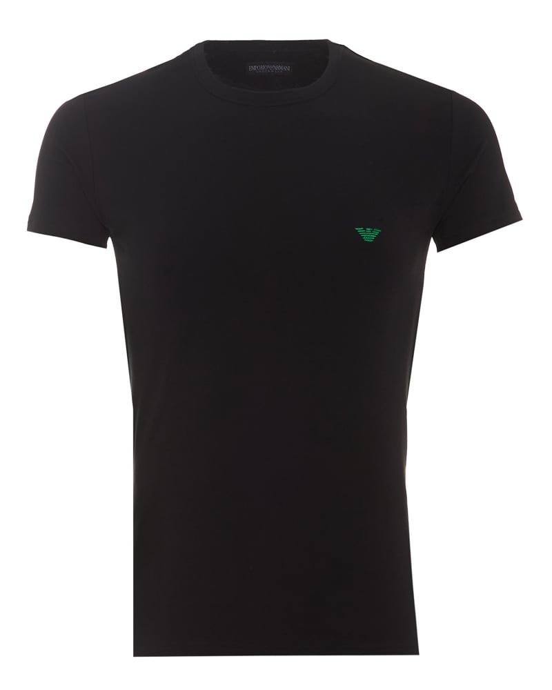 2ffa0429977ae Emporio Armani Mens T-Shirt Small Green Eagle Logo Black Slim Fit ...