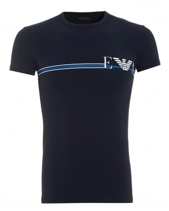 Mens T-Shirt, Stripe Logo Navy Blue Tee