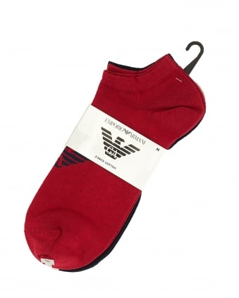 Mens Three Pack Eagle Logo Navy, Red and Grey Trainer Socks