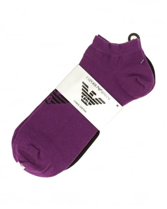 Mens Three Pack Eagle Logo Trainer Black, Grey and Purple Socks
