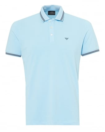 Mens Tipped Collar & Cuff Polo Shirt, Modern Fit Azzuro Blue Polo