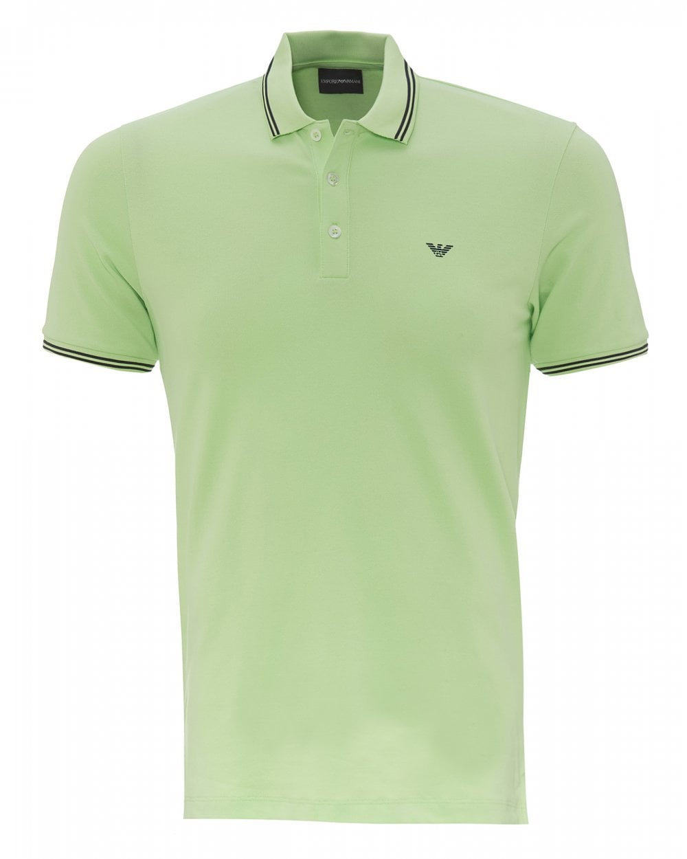 73713a34a9 Mens Tipped Collar & Cuff Polo Shirt, Modern Fit Green Polo