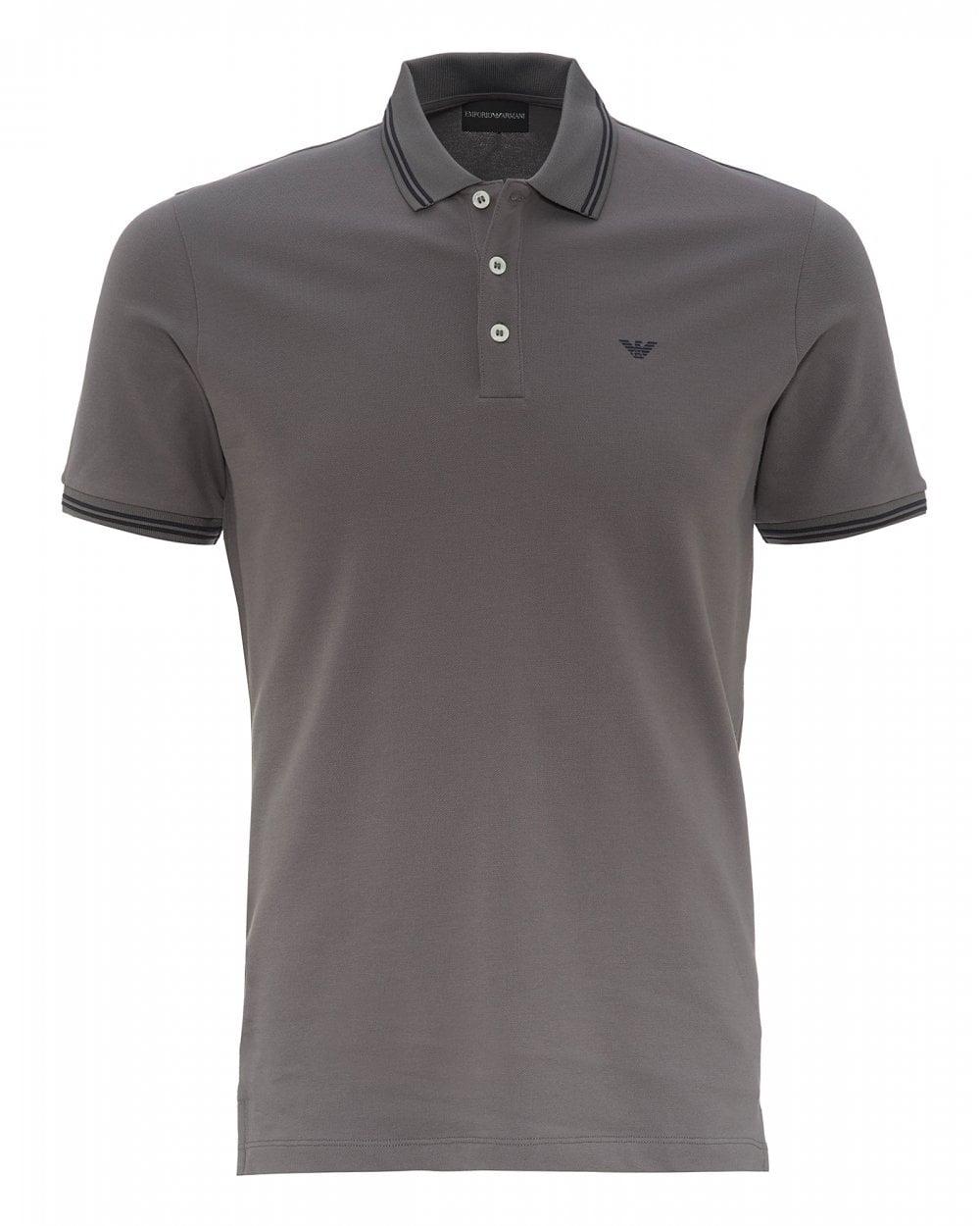 7b40f4dd36 Mens Tipped Collar & Cuff Polo Shirt, Modern Fit Grey Polo