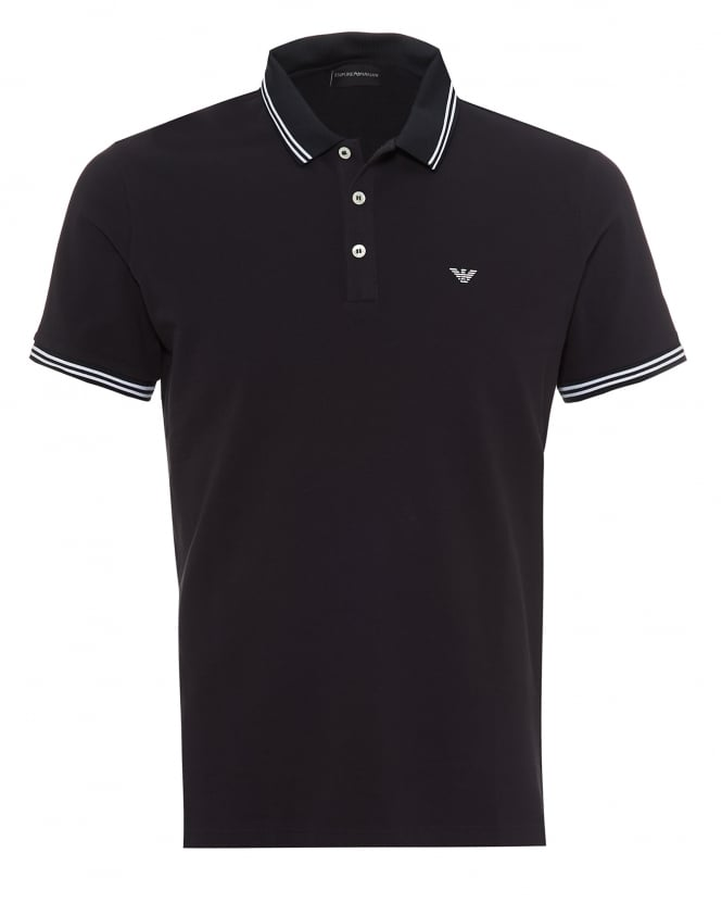 Emporio Armani Mens Tipped Collar & Cuff Polo Shirt, Modern Fit Navy Blue Polo