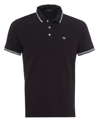 Mens Tipped Collar & Cuff Polo Shirt, Modern Fit Navy Blue Polo