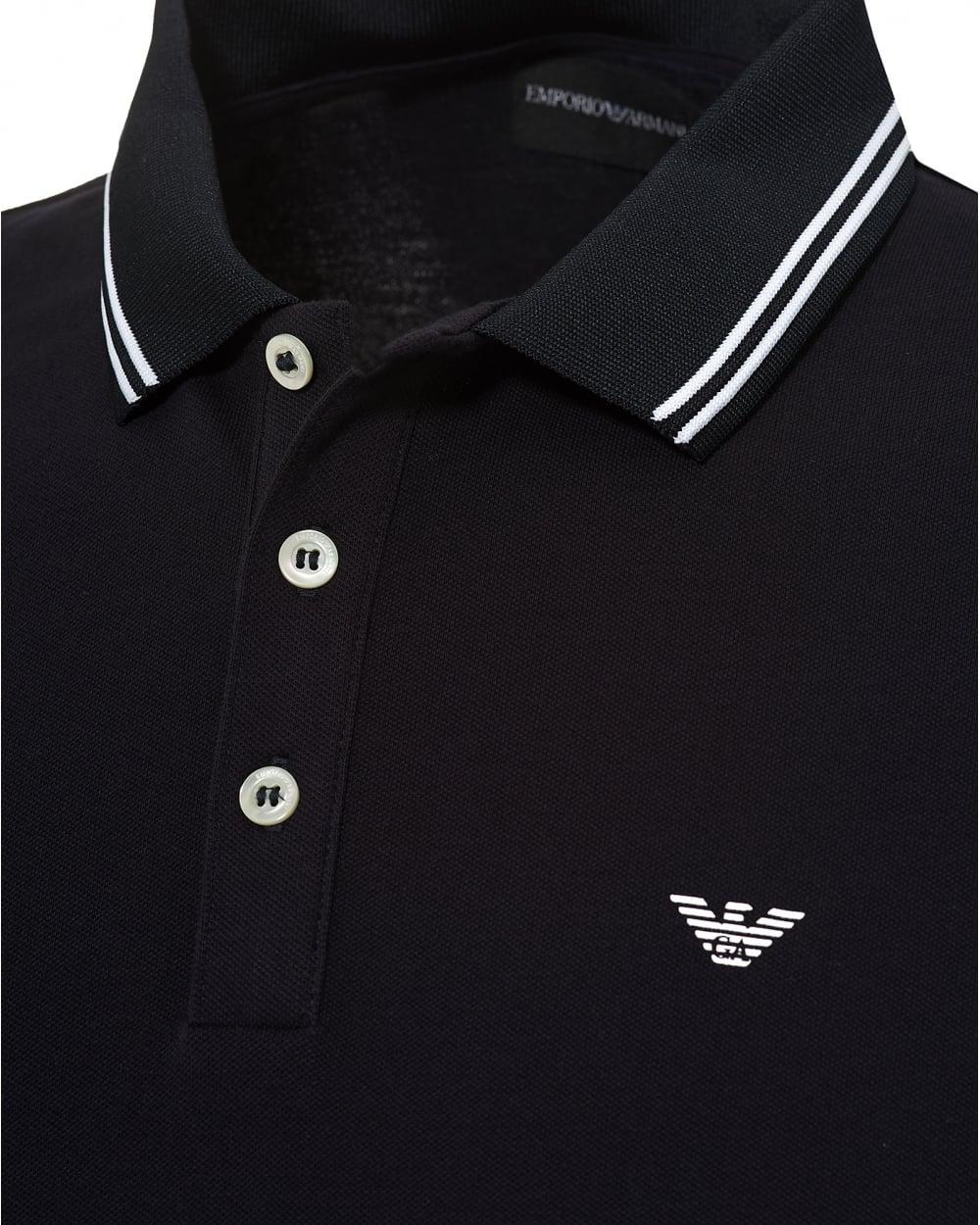 Armani Collar Tipped Blue Cuff Polo Emporio amp; Navy Mens Shirt Rw7qndOxg