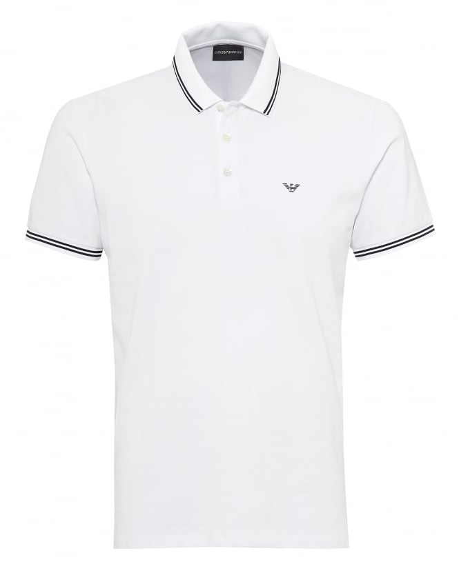 Emporio Armani Mens Tipped Collar & Cuff Polo Shirt, Modern Fit White Polo