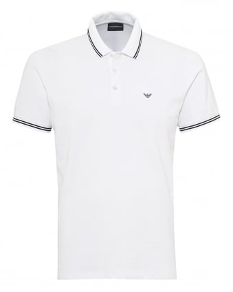 Mens Tipped Collar & Cuff Polo Shirt, Modern Fit White Polo
