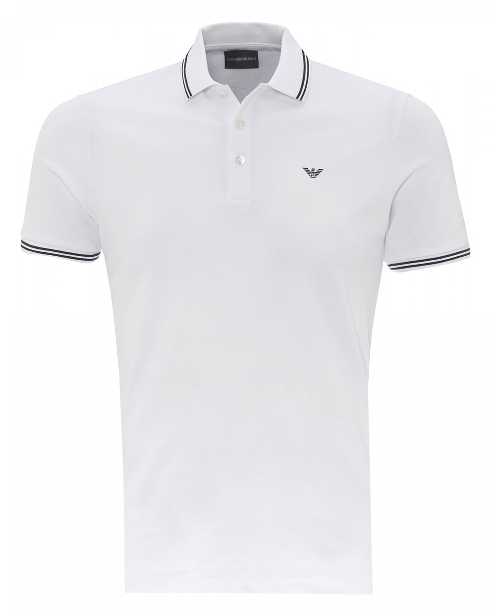 zapatos de separación a04da 42f21 Mens Tipped Collar & Cuff Polo Shirt, Modern Fit White Polo