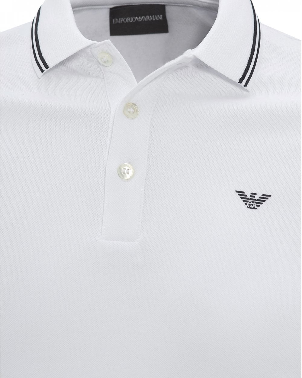 c167bf41 Mens Tipped Collar & Cuff Polo Shirt, Modern Fit White Polo