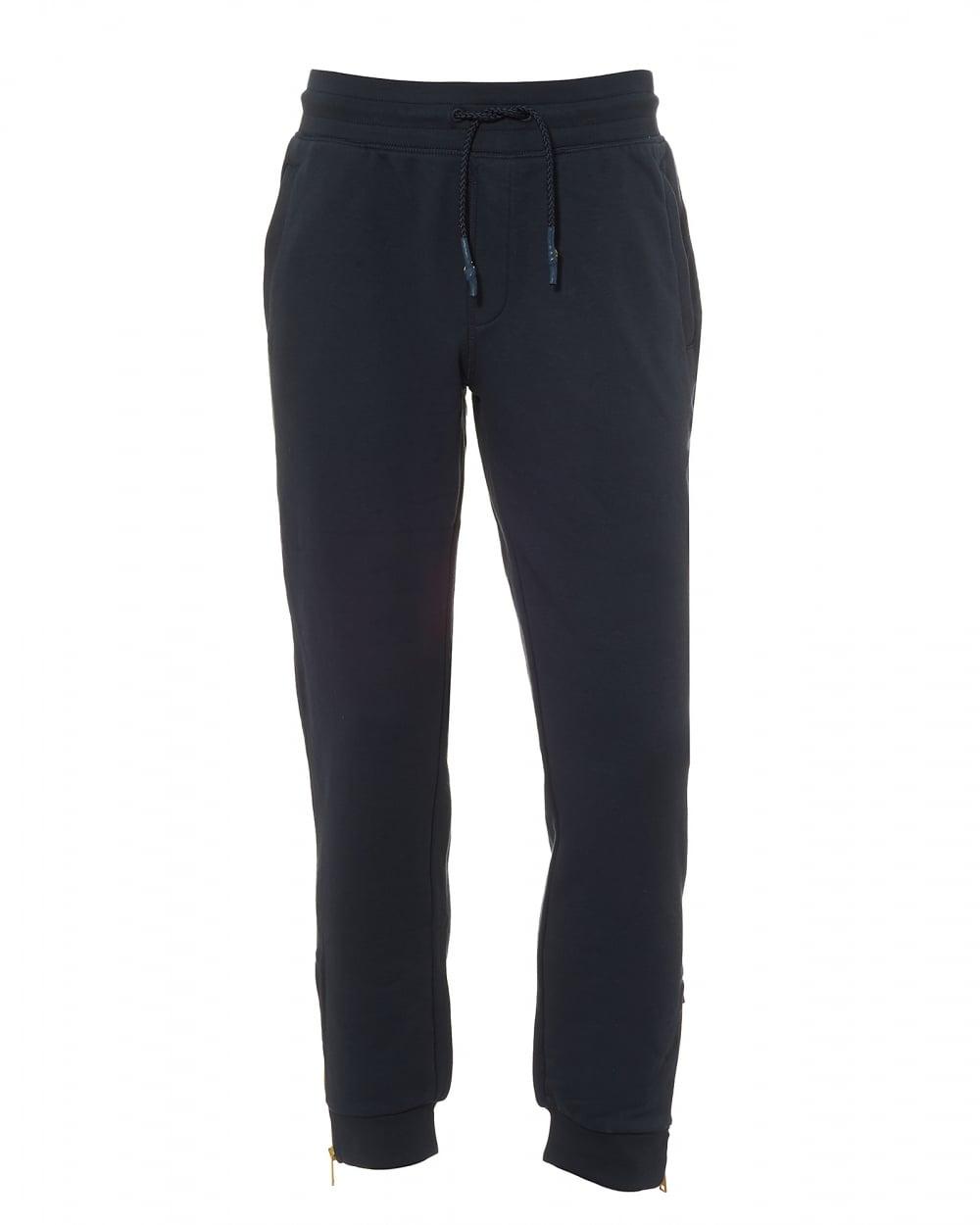 sale retailer 7d196 c9028 Mens Trackpants, Navy Blue Eagle Logo Yellow Zip Sweatpants