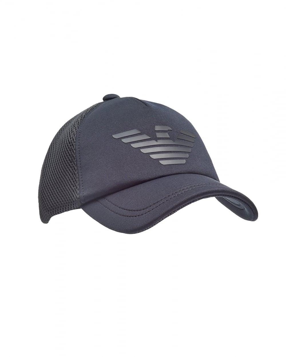 d49be730 Emporio Armani Mens Trucker Cap, Logo Mesh Blue Hat