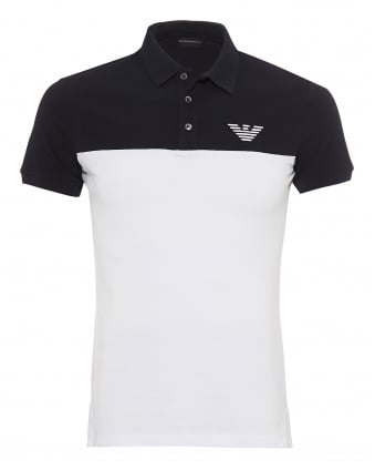 Mens Twin Panel Polo Shirt, Slim Fit Navy Blue White Polo