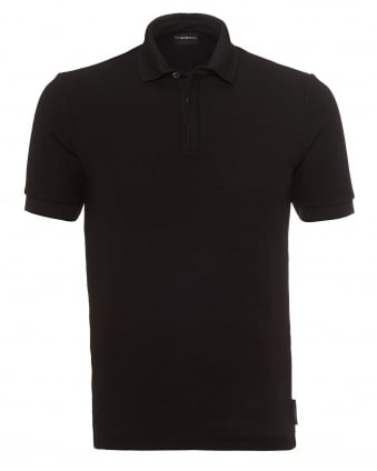 Mens Waffle Textured Polo Shirt, Modern Fit Black Polo