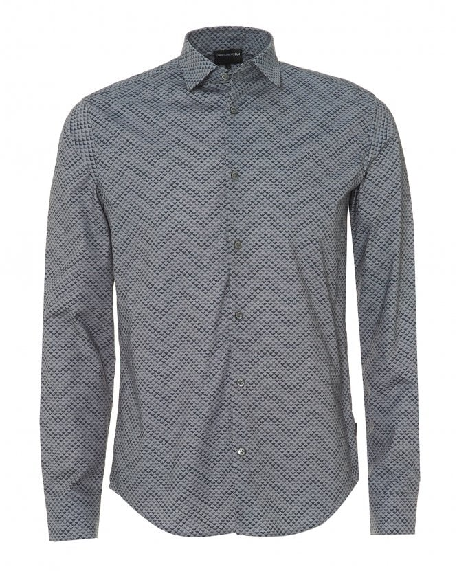 Emporio Armani Mens Waved Eagle Cotton Slim Fit Grey Shirt