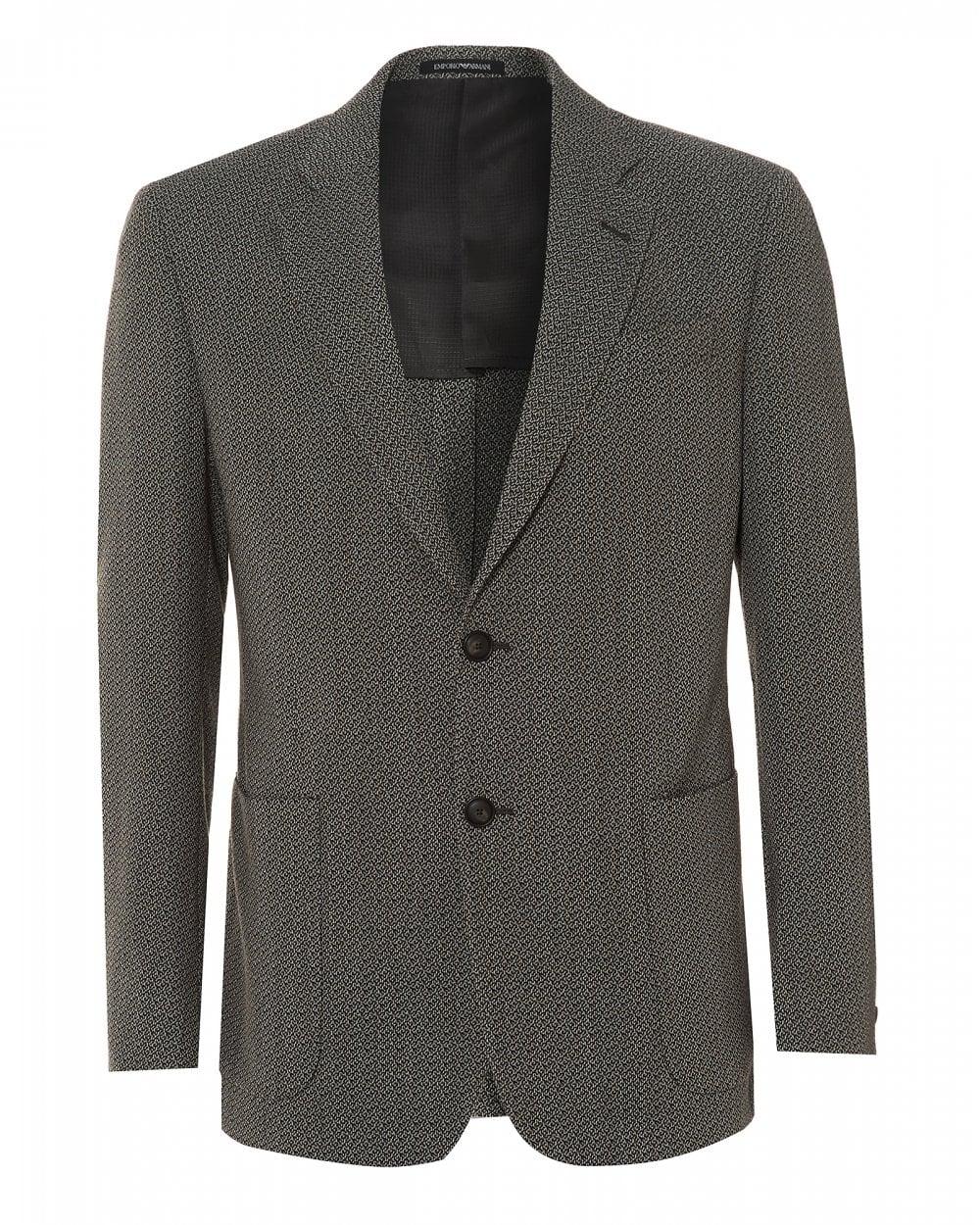 caldo-vendita doppio coupon servizio duraturo Emporio Armani Mens Weaved Patch Blazer, Grey Regular Fit Jacket