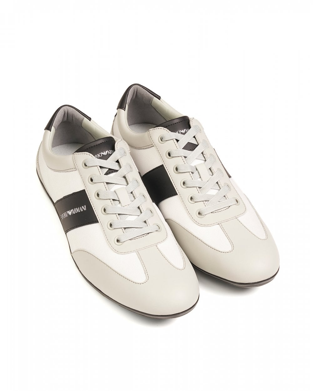 924bed401 Emporio Armani Mens White Leather Trainers, Logo Sneakers