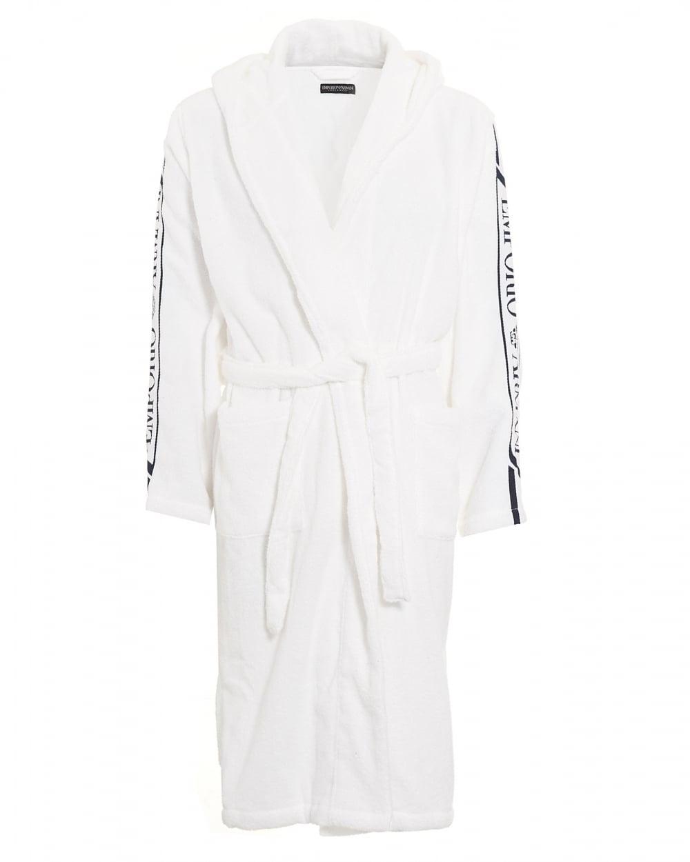 Emporio Armani Mens White Logo Dressing Gown
