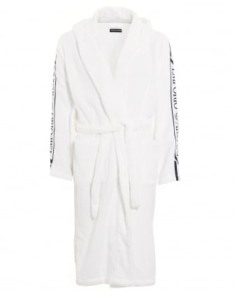 Mens White Logo Dressing Gown