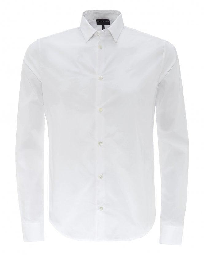 Emporio Armani Mens White Slim Fit Cotton Poplin Shirt
