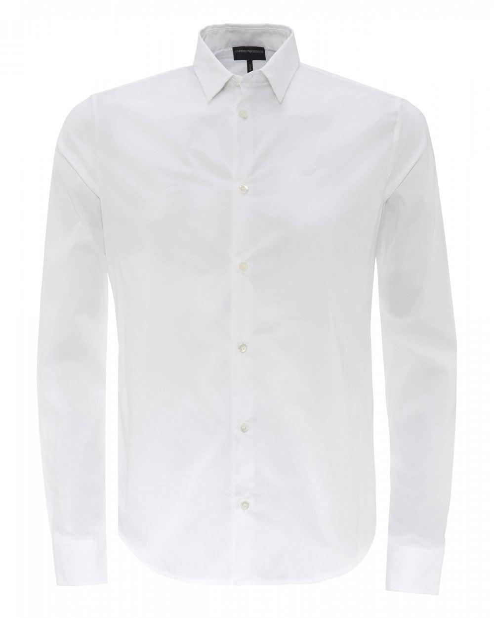 eaff0c5b46f808 Emporio Armani Mens White Slim-Fit Poplin Shirt