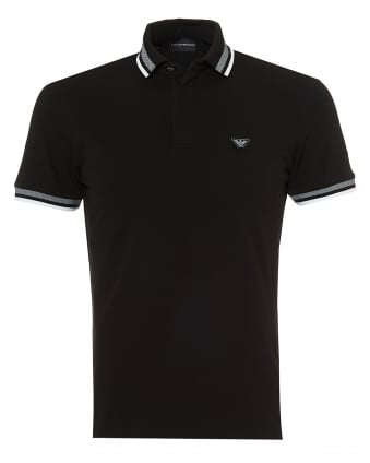 Mens Wide Tipped Polo Shirt, Slim Fit Black Polo