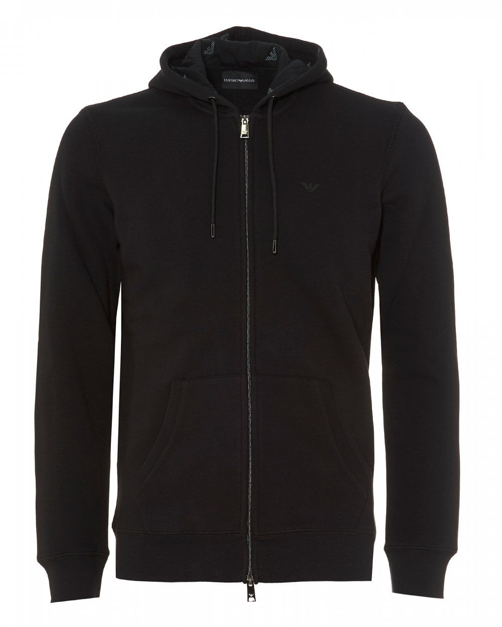 94e8dcc09 Emporio Armani Mens Zip Logo Hoodie, Black Hooded Sweatshirt