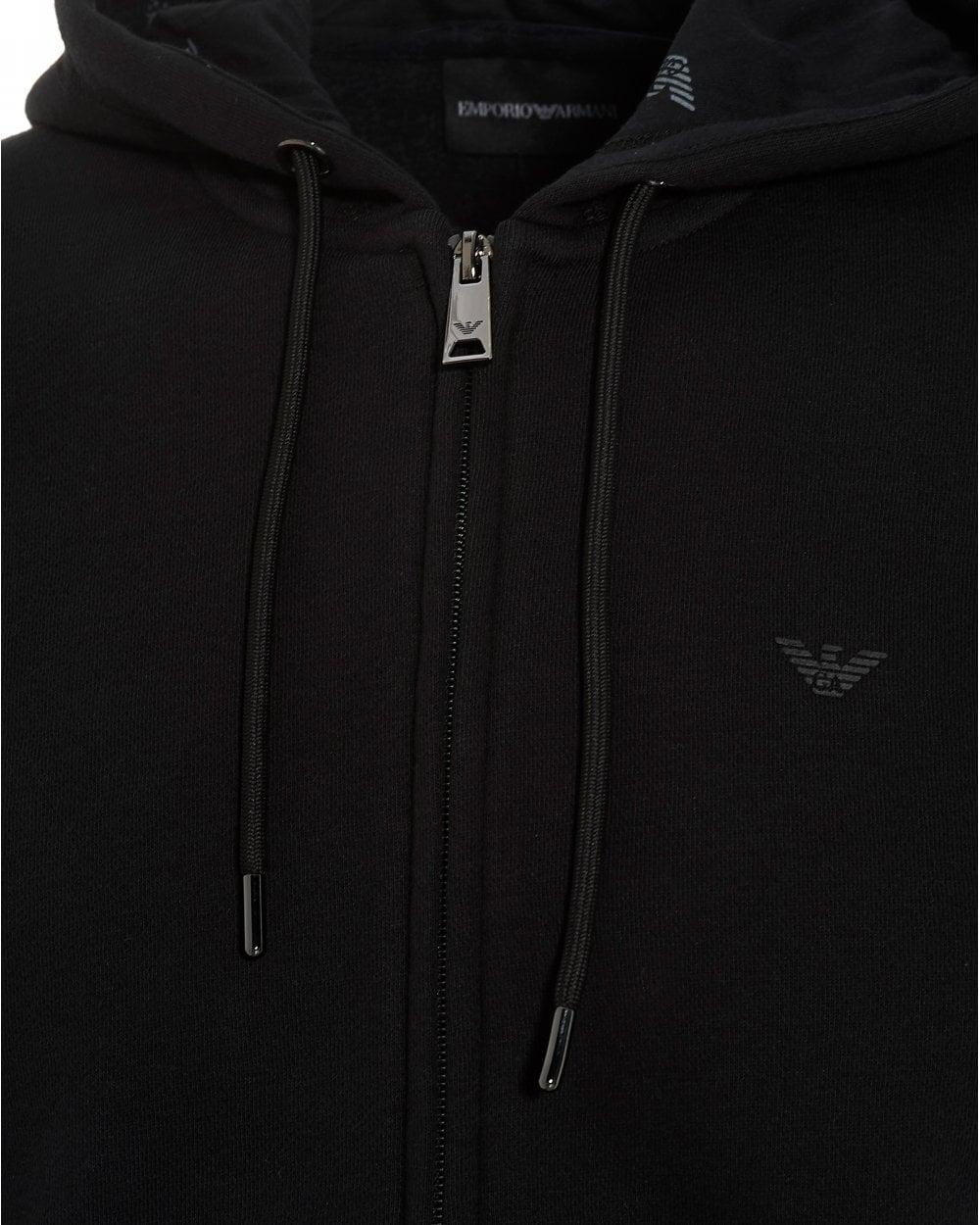 cf415d5f Emporio Armani Mens Zip Logo Hoodie, Black Hooded Sweatshirt