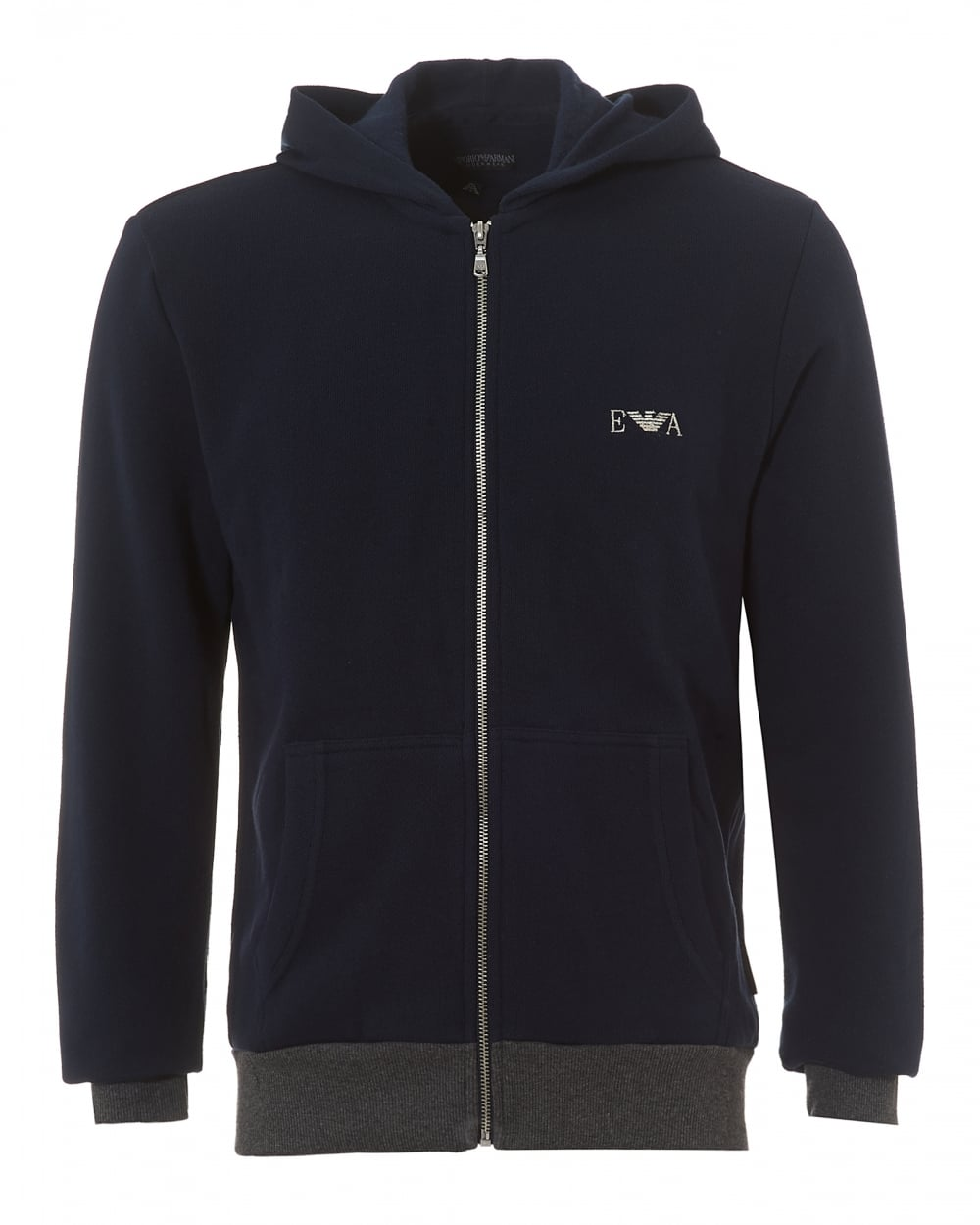 emporio armani mens zip up hoodie navy blue logo hooded sweater. Black Bedroom Furniture Sets. Home Design Ideas