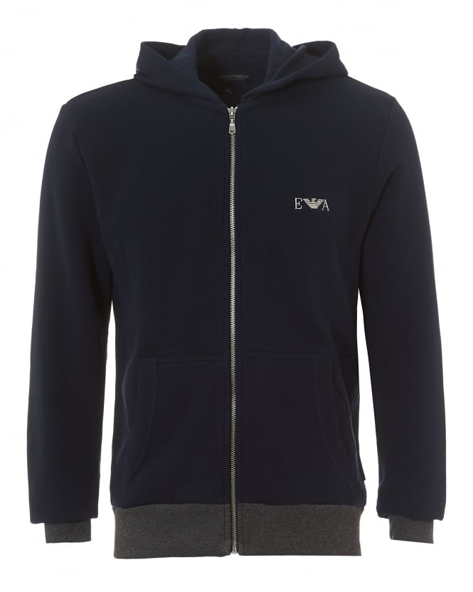 Emporio Armani Mens Zip-Up Hoodie, Navy Blue Logo Hooded Sweater