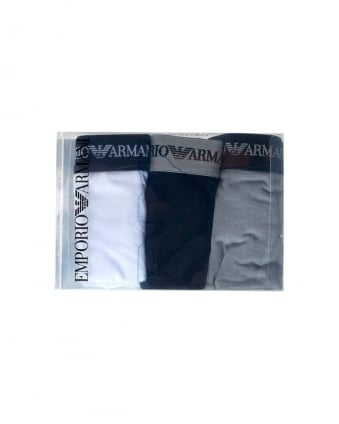 Three Pack of Boxers Black, White & Grey Trunks