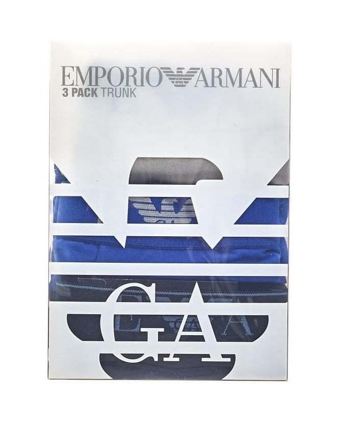 Emporio Armani Three Pack of Boxers Blue, White & Black Trunks