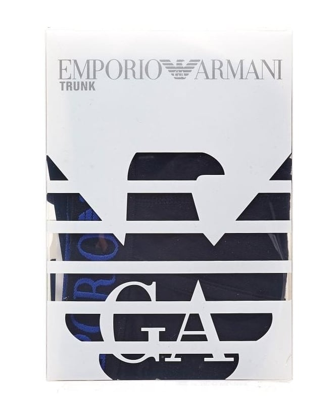 Emporio Armani Underwear, Black Boxers Electric Blue Eagle Logo Trunks