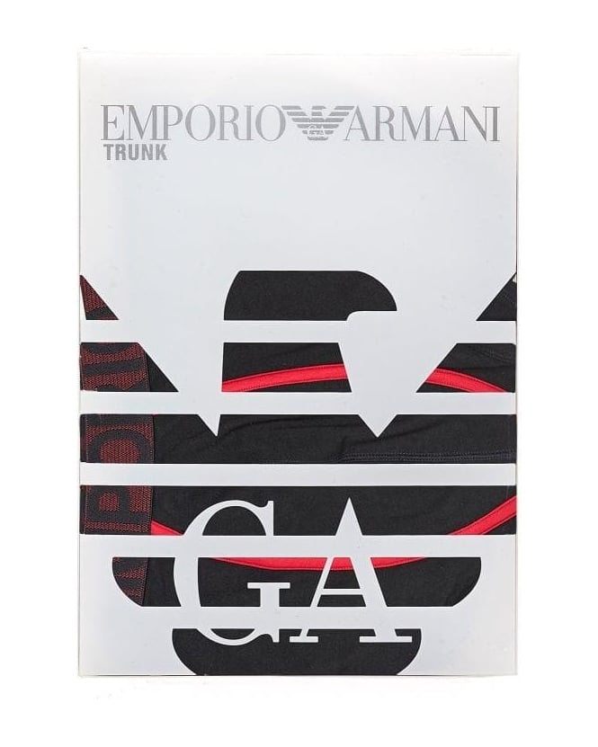 Emporio Armani Underwear, Black Boxers Red Camouflage Eagle Logo Trunks