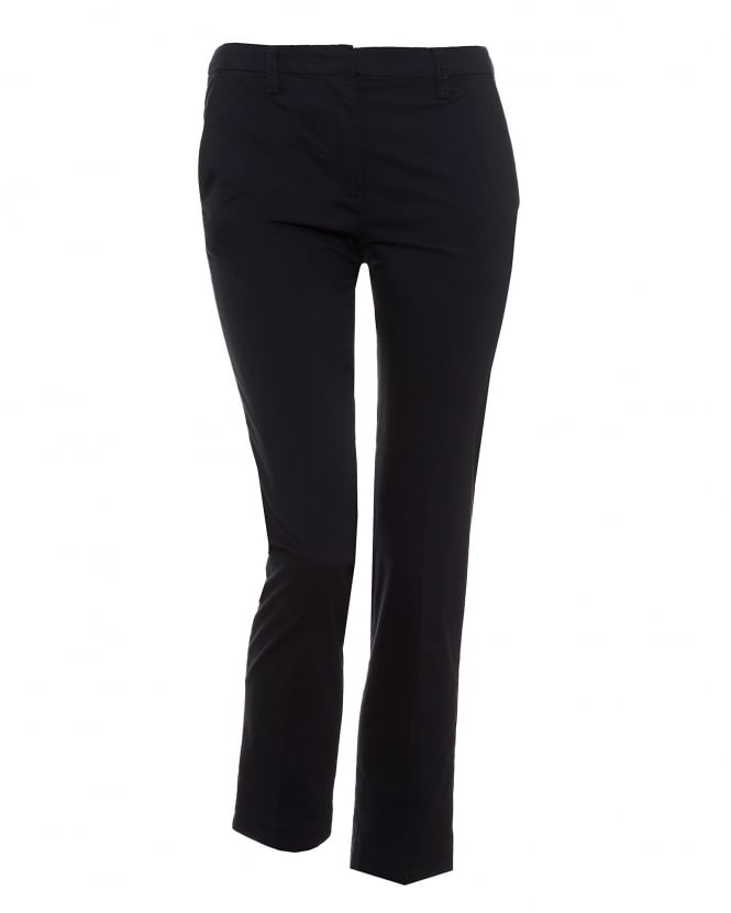 Emporio Armani Womens Cady Cropped Stretch Cotton Navy Blue Trousers