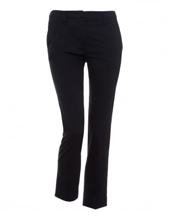 Womens Cady Cropped Stretch Cotton Navy Blue Trousers