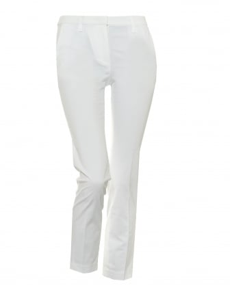 Womens Cady Cropped Stretch Cotton White Trousers