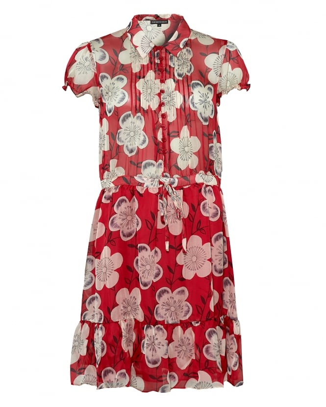Emporio Armani Womens Collared Dress, Side Pockets Floral Red Dress