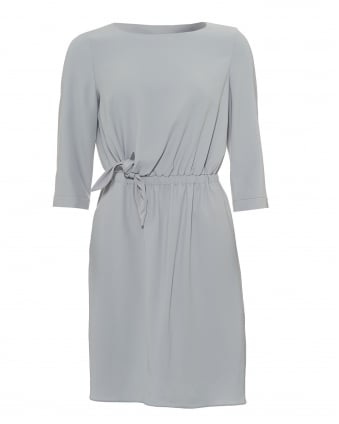 Womens Faux Knot Dress, 3/4 Sleeves Crystal Grey Dress