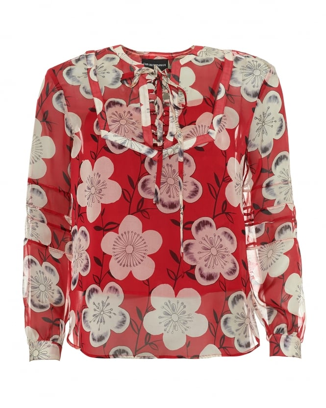 Emporio Armani Womens Floral Print Tunic, Neck Tie Red Blouse