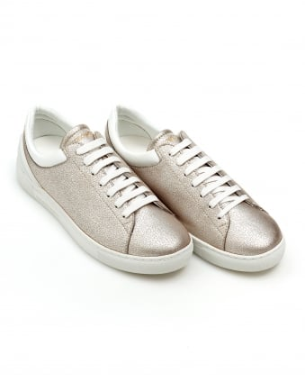 Womens Metallic Trainer, Textured Soft Gold Sneakers